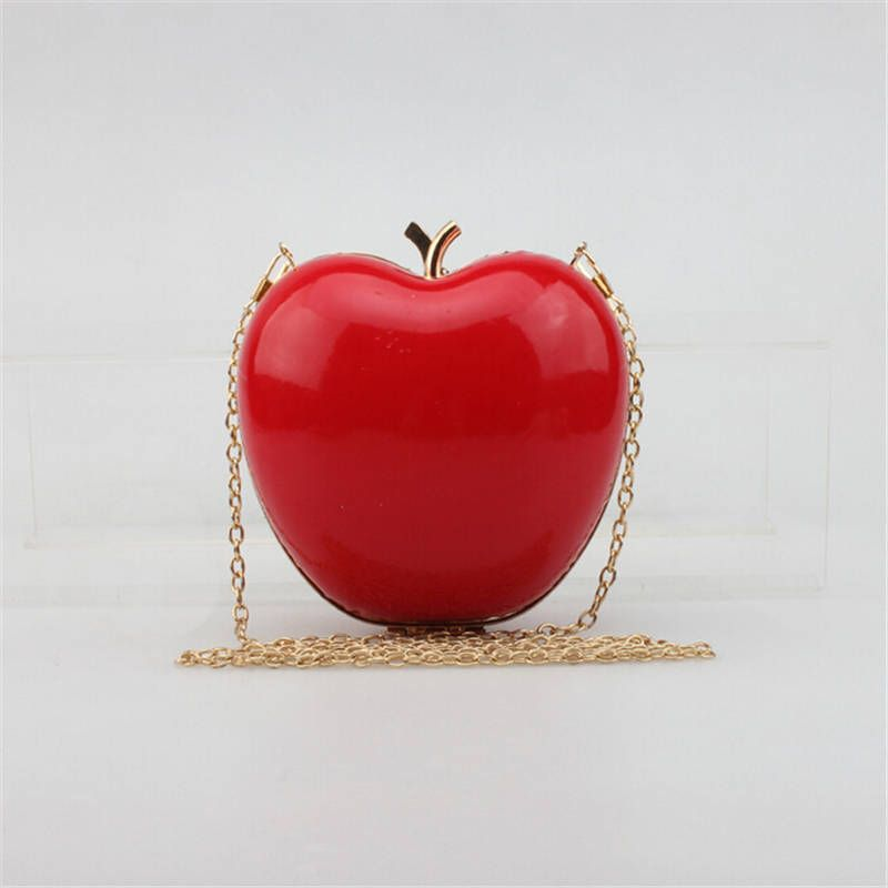 2016 Hot Mini Apple Shaped Evening Bag Cute Women Fashion Day Clutch Bag Chain Shoulder Bag Party Wedding Wedding Clutch Purse Evening Clutch Bag Evening Bags