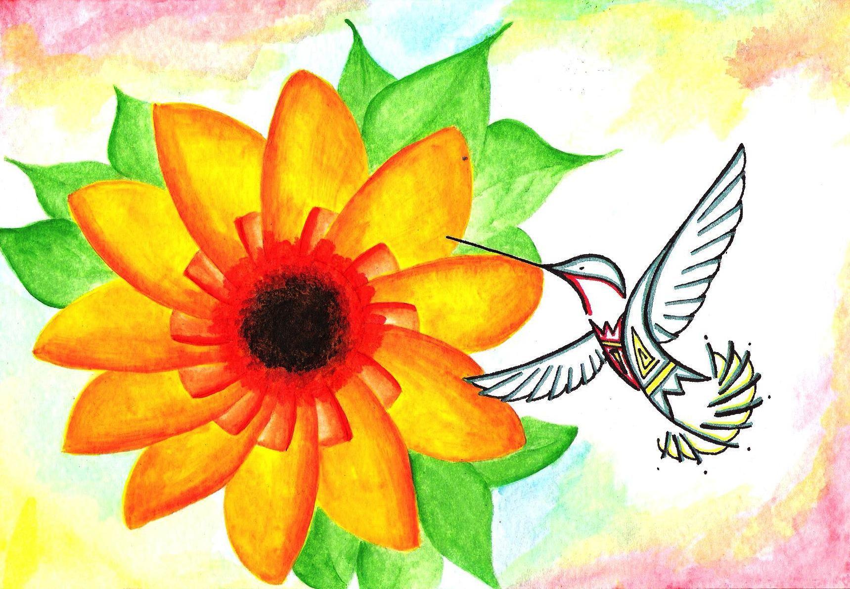 Hummingbird watercolor painting   Artist Erin Martinez, San Ildefonso Pueblo, NM