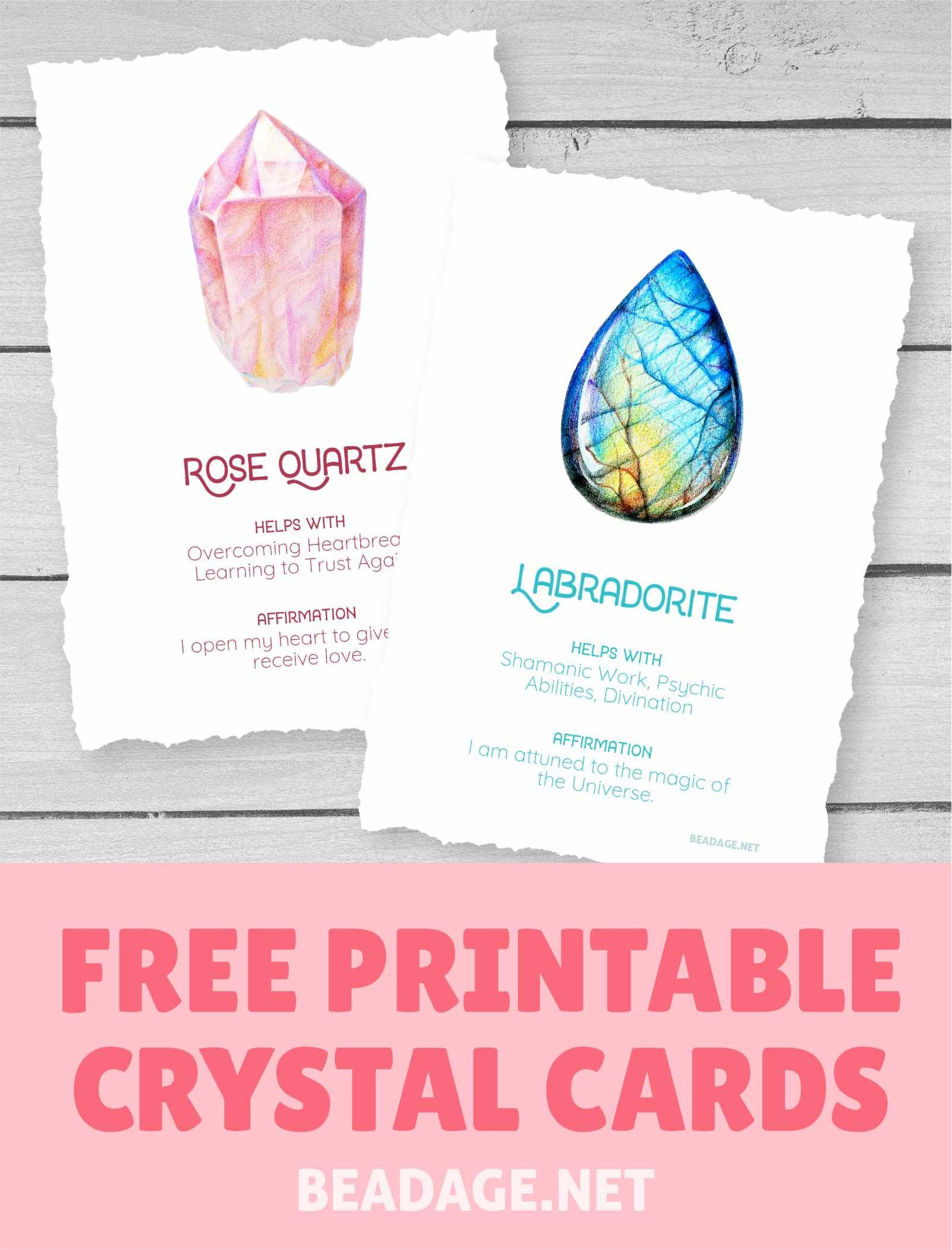 Gorgeous illustrated cards with crystal picture, meaning, and affirmation. #crystals #gemstones #witchy