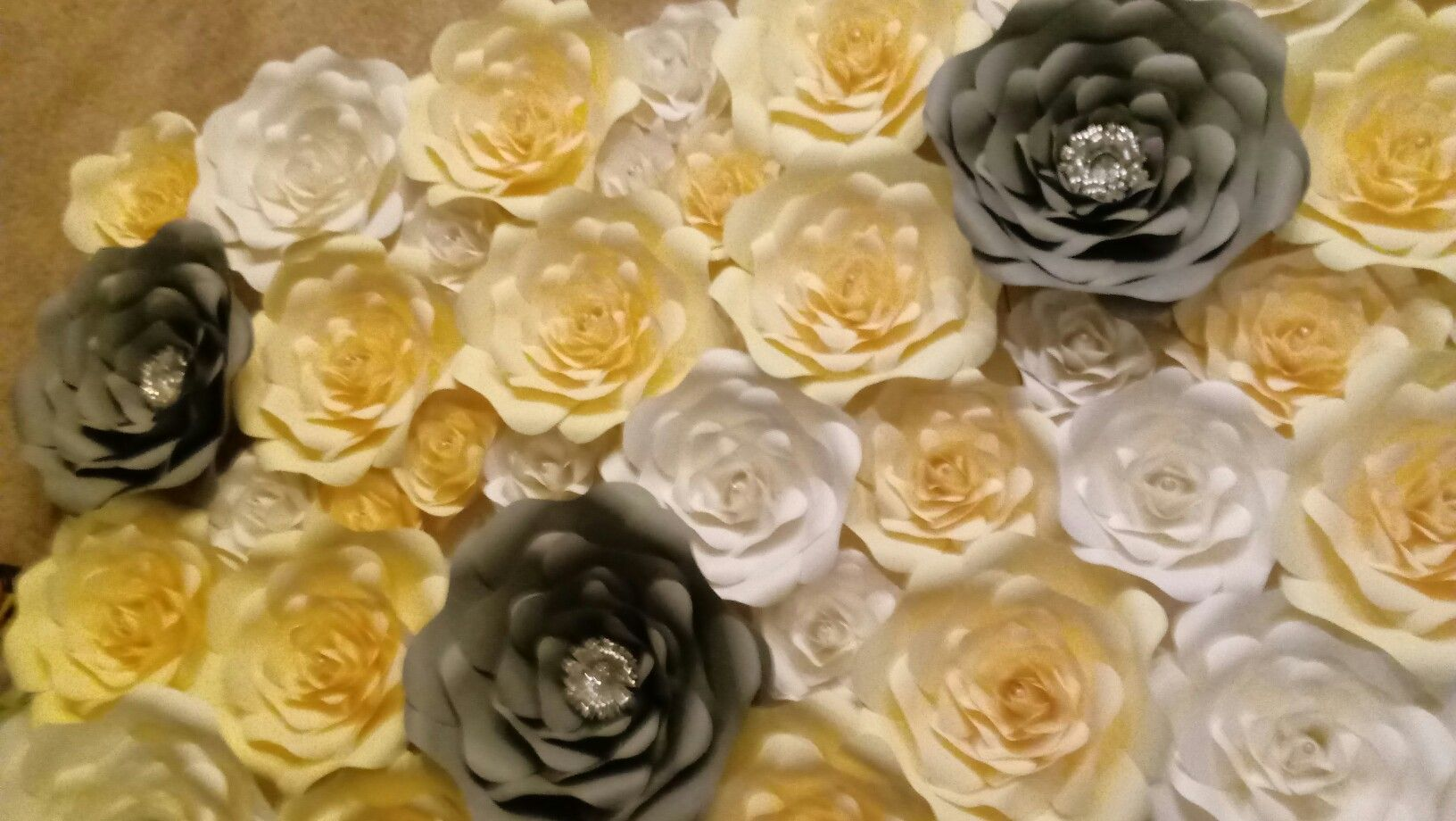 Silver Grey White Gold Flower Wall Living Room Wall