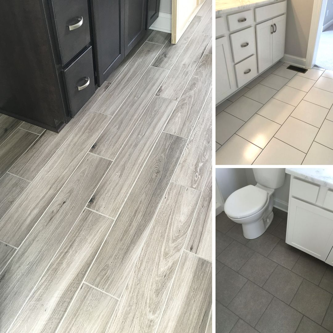 More recent floor tile installs wood tile concrete for Tile floors bathroom