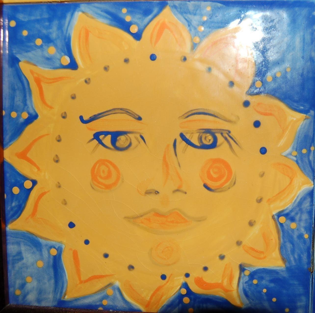 art tile -mosaic | Hand Painted Sun Moon Ceramic Art Tile Wall ...