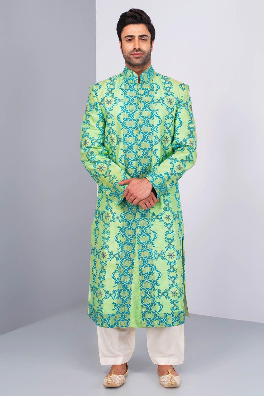 Priya chhabria mint green printed sherwani with ivory salwar ravi
