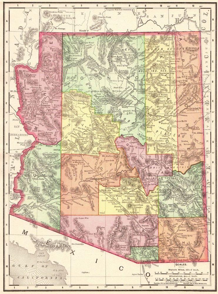 1900 Antique Arizona Map Vintage Arizona State Map Gallery Wall Art 5645 Arizona Map Arizona State Map Art Gallery Wall
