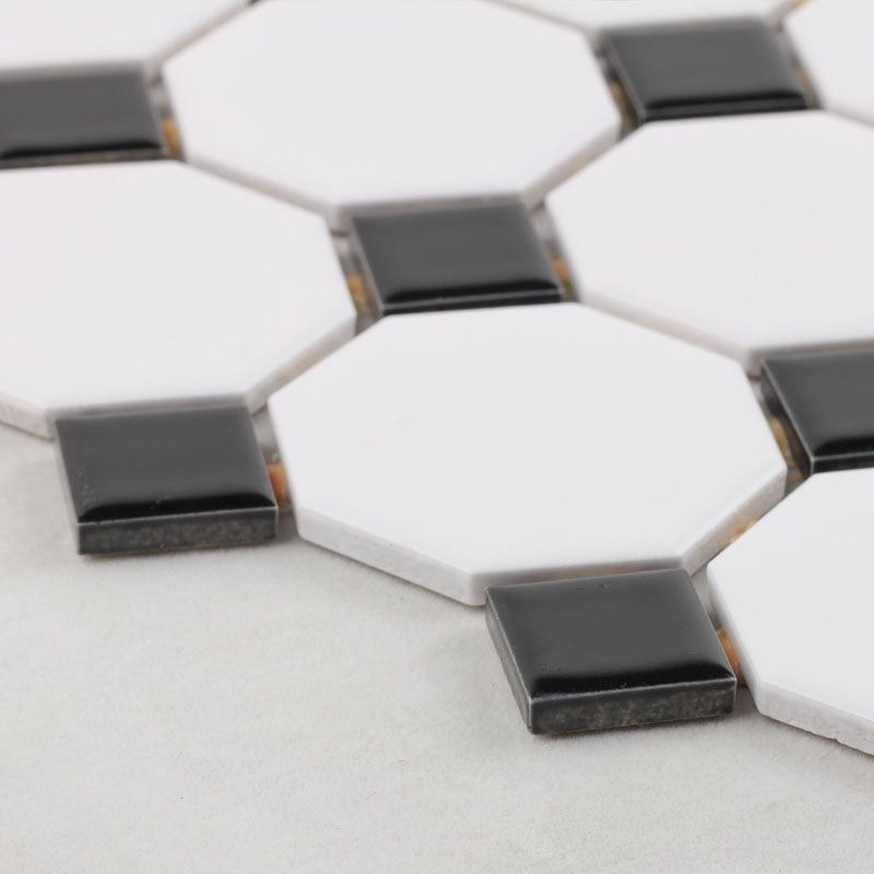 Glazed porcelain mosaic octagonal dot black and white ceramic