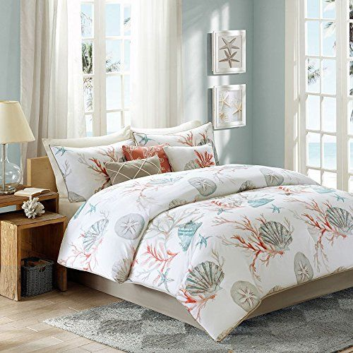 Coral Seashells Starfish Beach Cal King Comforter Set