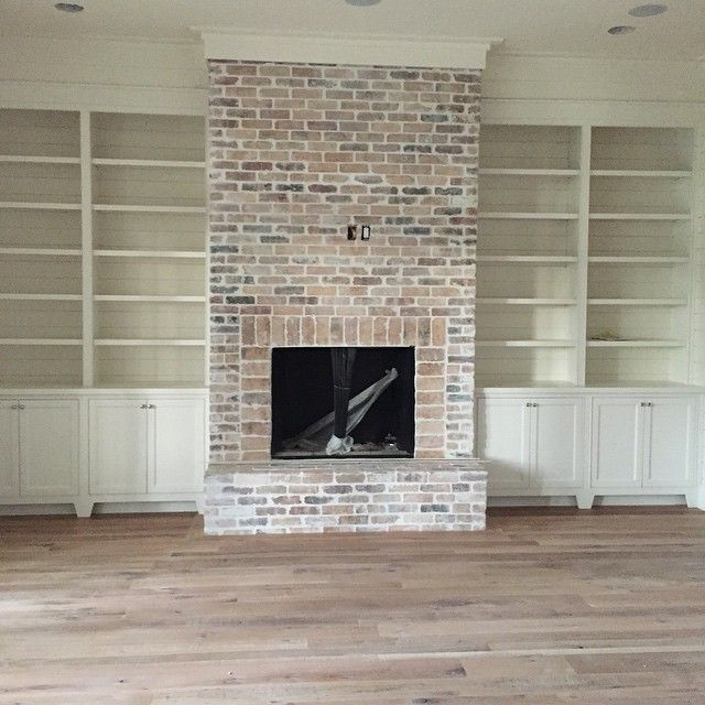 Superb Brick Fireplace Part - 3: Brick Fireplace And Built Ins With Shiplap