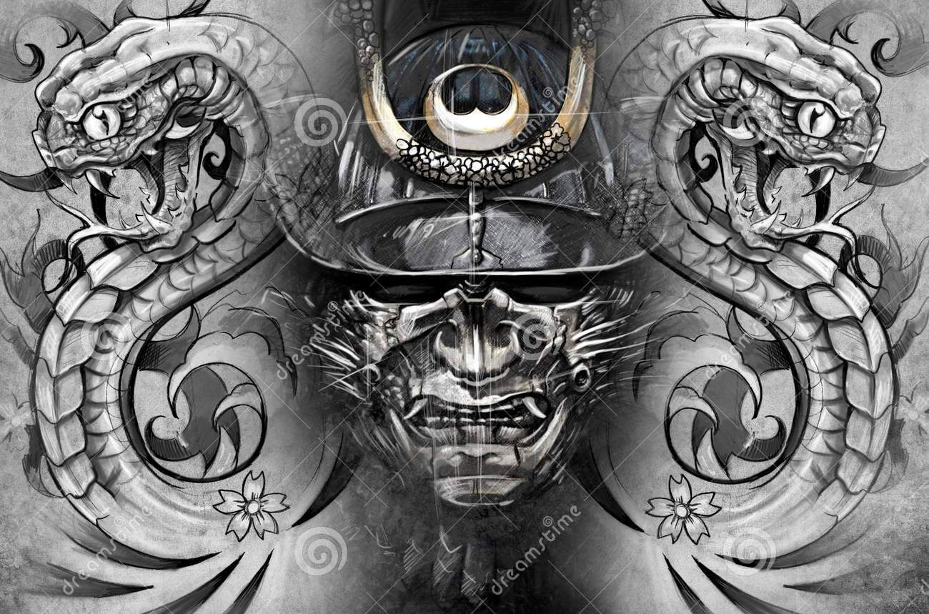 Snakes And Samurai Helmet Tattoo Designs: Real Photo