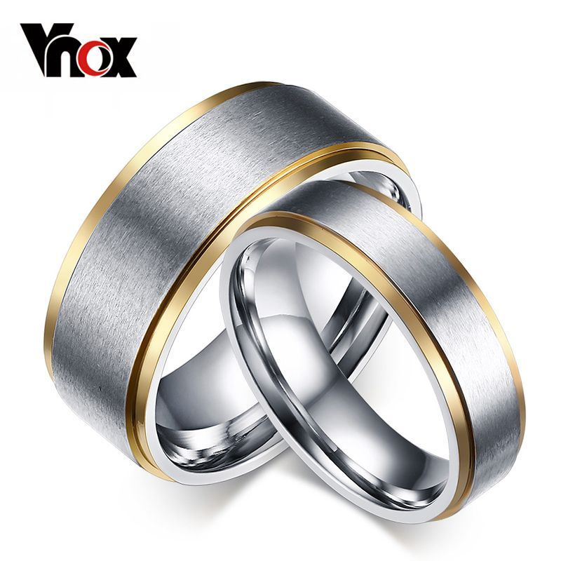 Vnox Elegant Rings for Women Men 6mm8mm Wedding Bands Ring