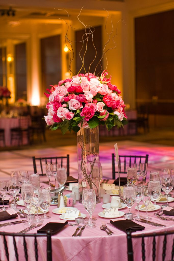 Tall Rose And Curly Willow Centerpiece