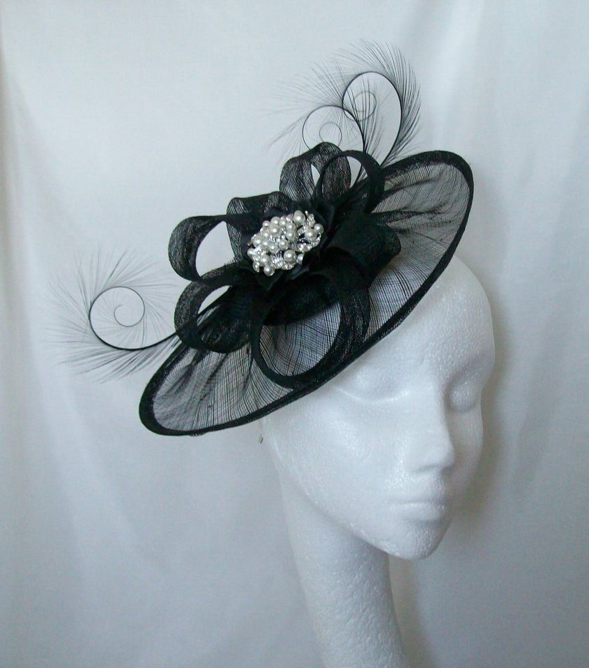 Ha hair accessories vancouver bc - Black Jewelled Saucer Hat By Www Indigodaisyweddings Co Uk Specialising In Stunning Fascinators