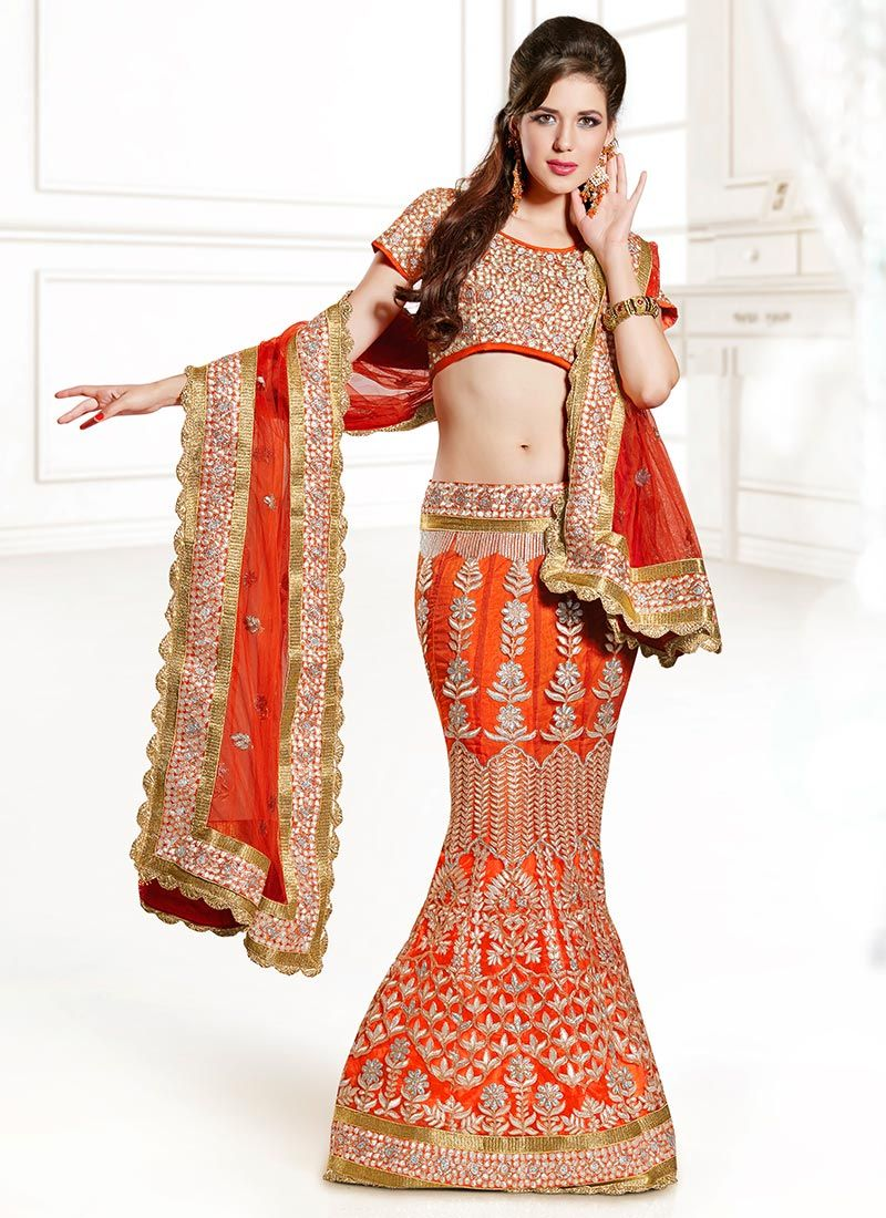 Orange net fish cut lehenga choli style of a bride pinterest
