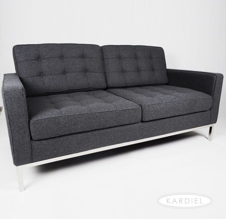 FLORENCE KNOLL LOVESEAT CHARCOAL GREY TWEED WOOL CHAIR Modern Sofa Vintage  Retro