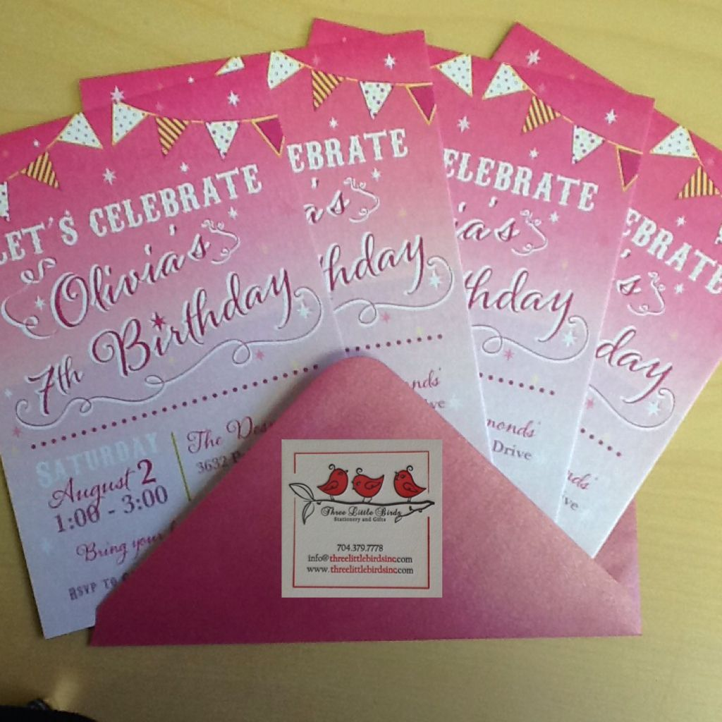 Cute Pink Birthday Invitations For 7 Year Old Olivia With Matching Envelopes Threelittlebirdsinc