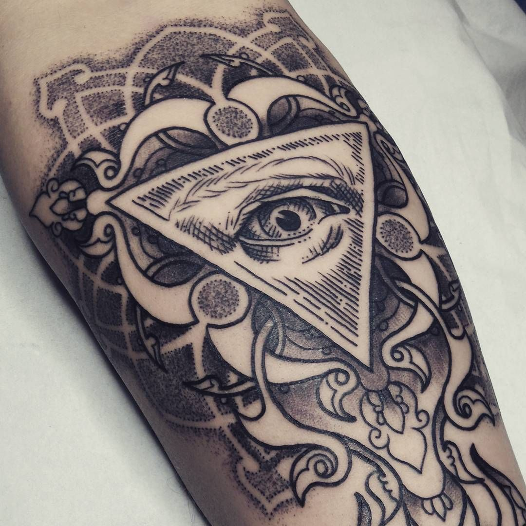 Blackwork Tattoo By Alex M Krofchak All Seeing Eye Evil Eye Mandala Etching All Seeing Eye Tattoo Tattoos Illuminati Tattoo