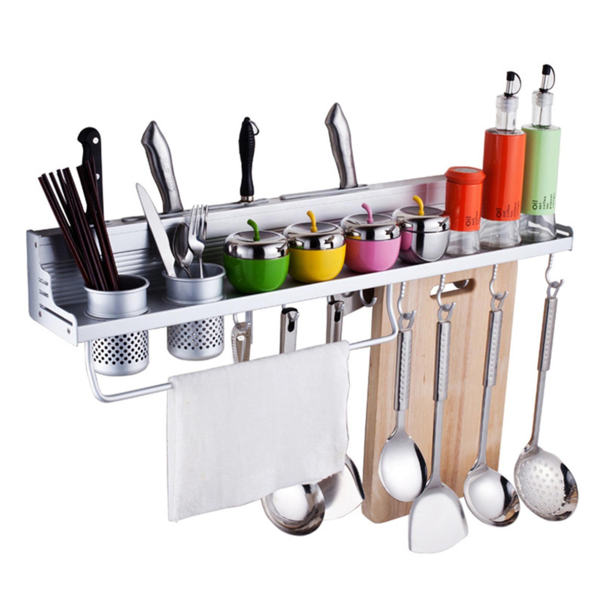 Kitchen Aluminum Pantry Storage Rack Hanging Hook Shelf Dish