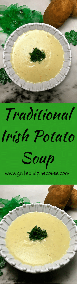 Best and Easiest Traditional Irish Potato Soup This easy Traditional Irish Potato Soup recipe is a kid-favorite, healthy, and as simple to make as it is delicious and nutritious.  It's also perfect for a St Patrick's Day dinner!  via @gritspinecones/This easy Traditional Irish Potato Soup recipe is a kid-favorite...