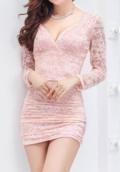 f5542ede9d13 ByChicStyle Pink Patchwork Hollow-out Lace Sequin Plunging Neckline Mini  Dress online with cheap prices and discover fashion Mini  Dresses,Dresses,Midi ...