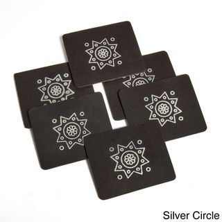 @Overstock.com - Set of 6 Handmade Faux Leather Beverage Coasters with Motif (India) - Toss your mismatched old coasters and upgrade to these rich, leather-look coasters. Our set of six dark brown coasters has a beautiful motif on the front side. Elegant enough for guests yet sturdy enough for everyday use  http://www.overstock.com/Worldstock-Fair-Trade/Set-of-6-Handmade-Faux-Leather-Beverage-Coasters-with-Motif-India/8353073/product.html?CID=214117 $17.49