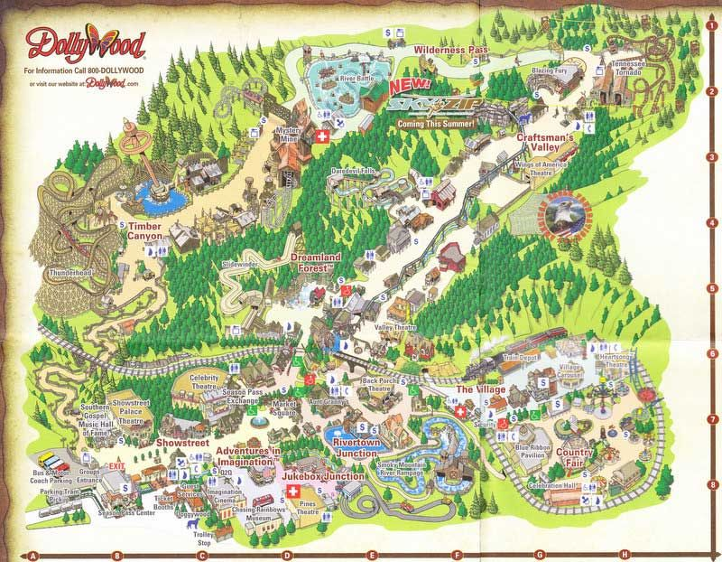 Dollywood Pet Friendly Cabins In Pigeon Forge Theme Park Map Dollywood Dollywood Park