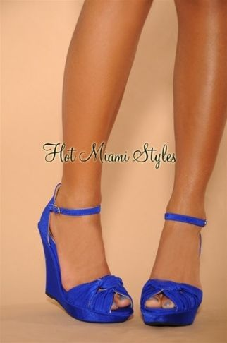 a4cd45685ff Royal-Blue Knotted Front Ankle Strap Wedge Sandals Womens clothing clothes  hot miami styles hotmiamistyles