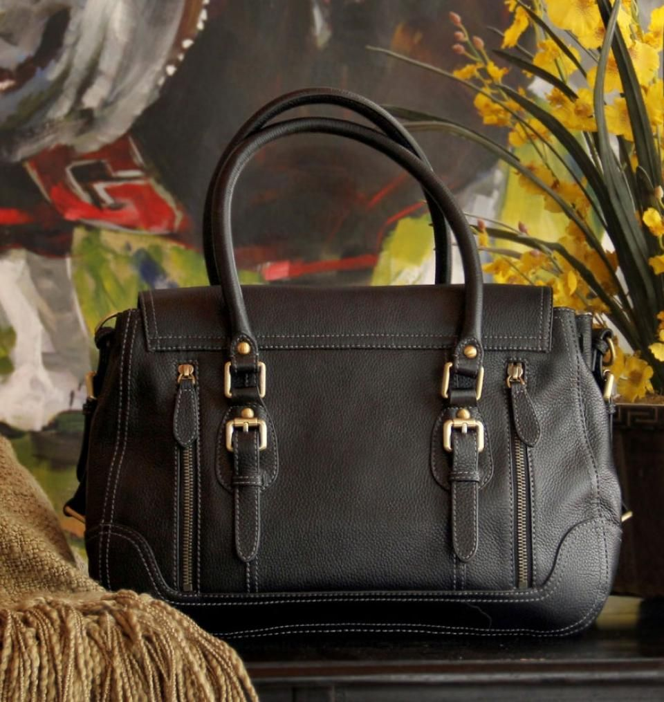 7dc616d29fe Concealed Carry Purse - Smooth Aged Leather Satchel | GunHandbags ...