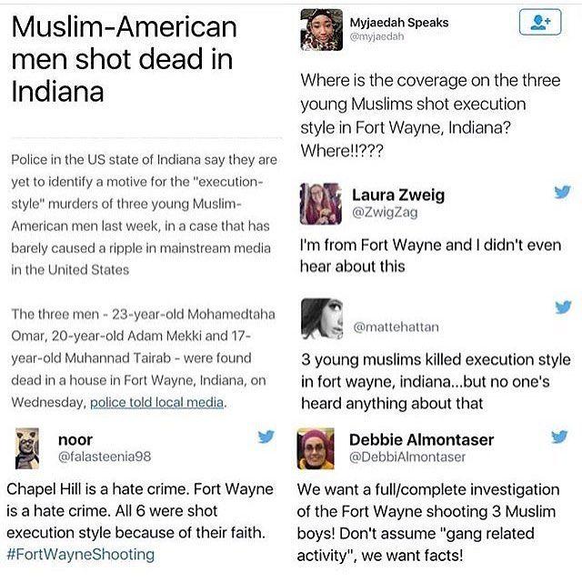 Feminist inspiration from @feministastic on Instagram: #FortWayneShooting #ourthreeboys #ProtectMuslimLives