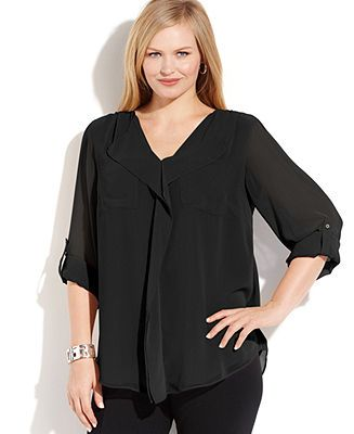 Calvin Klein Plus Size Long-Sleeve Ruffled Blouse - Plus Size Tops - Plus Sizes - Macy's Obviously, too expensive for what it is.  $80 polyester?!