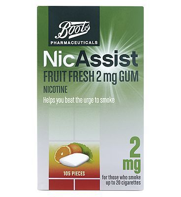 Boots Pharmaceuticals NicAssist Fruit Fresh 2mg 36 Advantage card points. Helps you beat the urge to smoke. For those who smoke up to 20 cigarettes. Each medicated chewing gum contains Nicotine 2mg. See details below. Always read the label. FREE De http://www.MightGet.com/february-2017-1/boots-pharmaceuticals-nicassist-fruit-fresh-2mg.asp