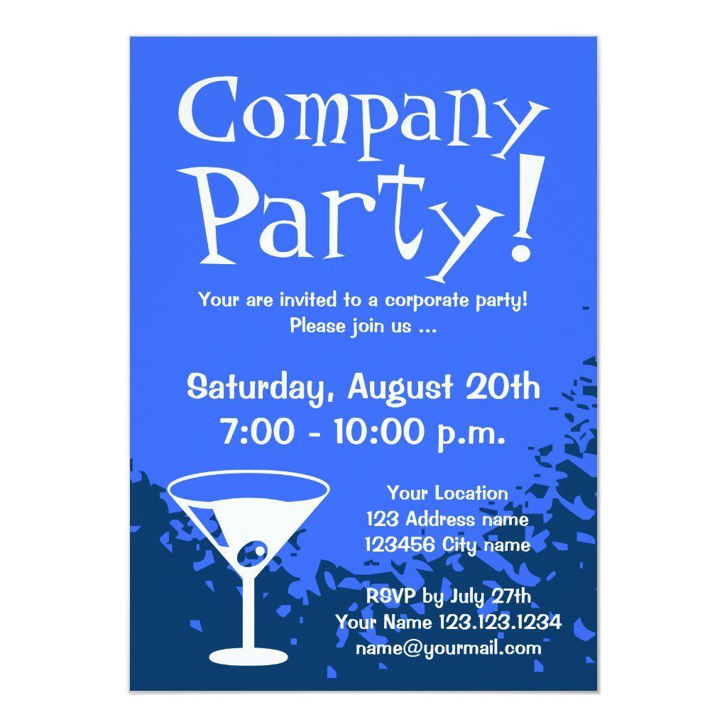 Corporate Party Invitations Company Invites Zazzle Com Corporate Party Invitation Office Party Invitations Party Invite Template
