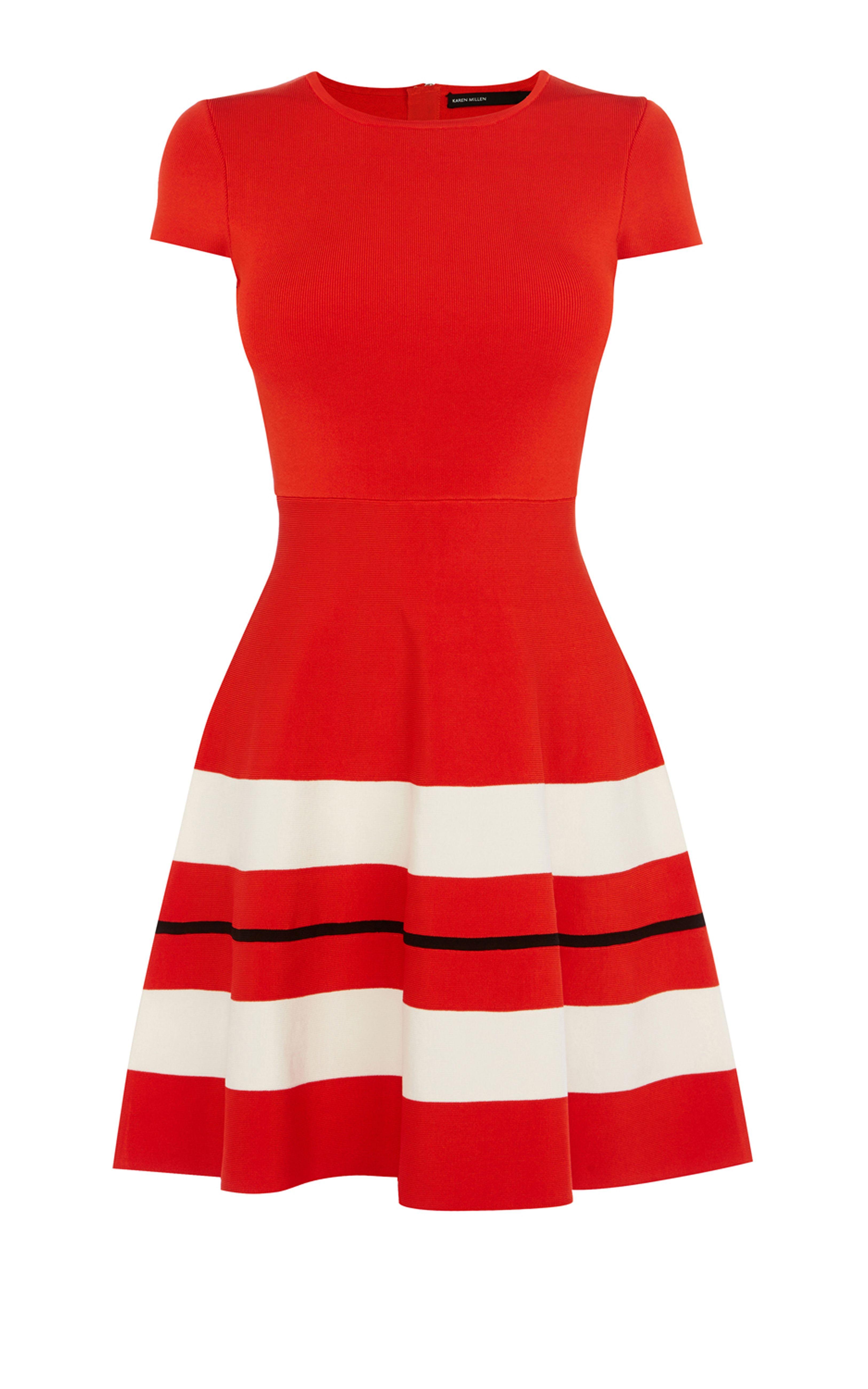 Karen Millen, STRIPED STRETCH-KNIT DRESS Red | fashion | Pinterest ...