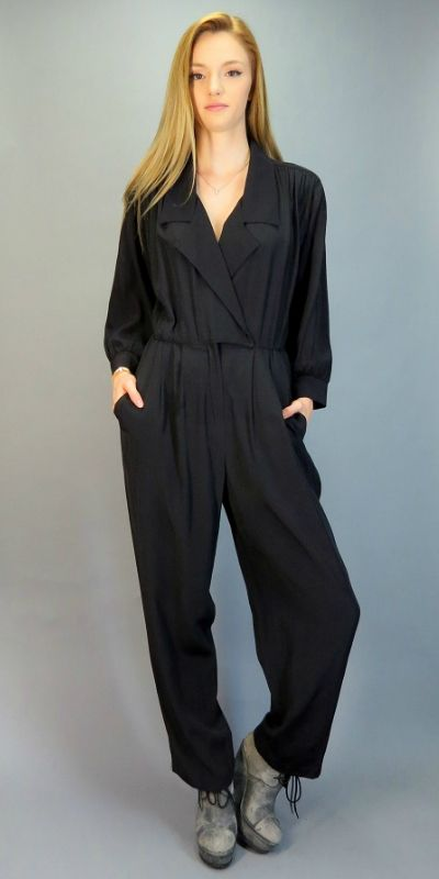 00c00ac5fa9a Vintage 80s 90s Jumpsuit Black One Piece Outfit Pantsuit Baggy Slouch Fit  Romper Onesie Pleated Tapered Leg Pants Hipster Indie Wrap Jumpsuit by ...