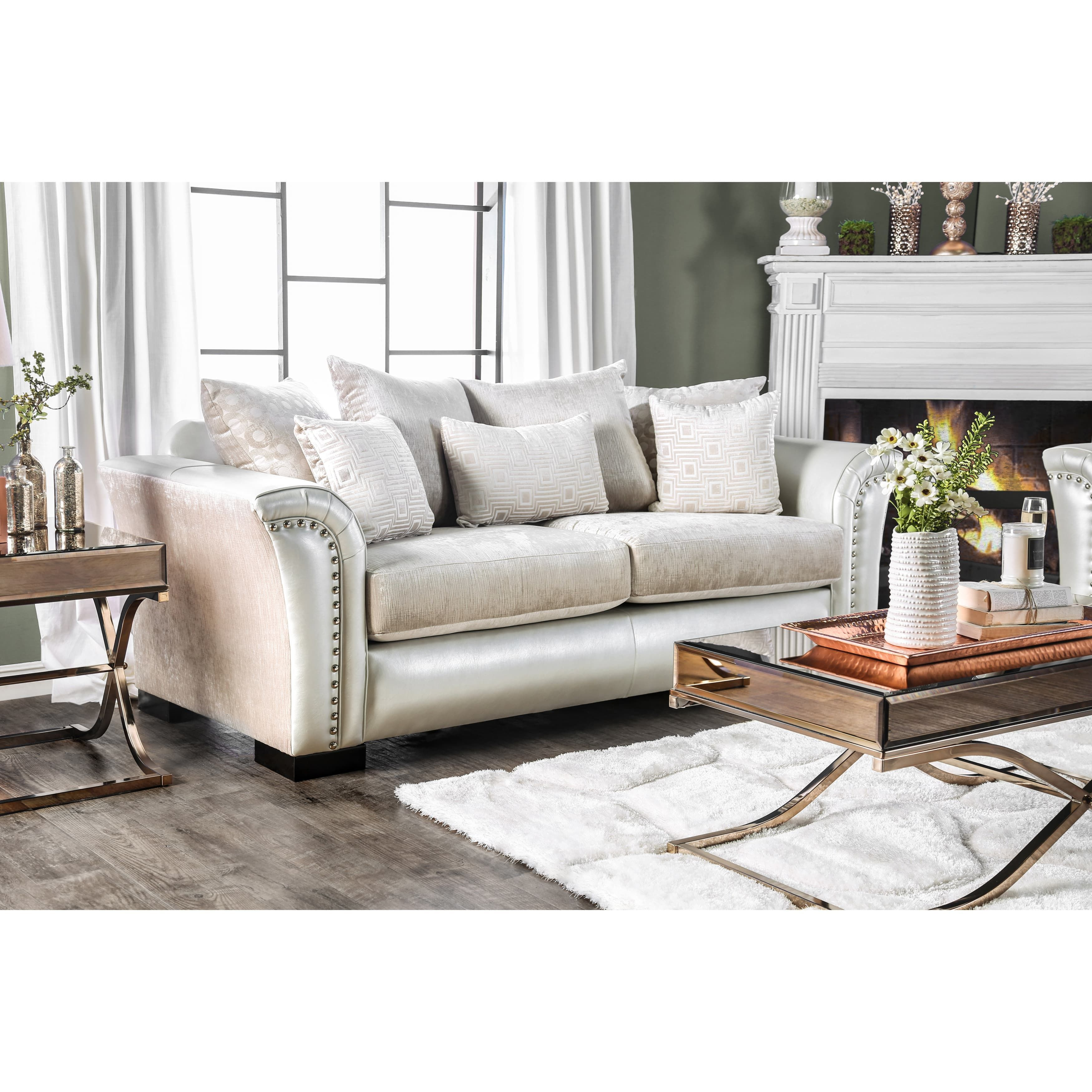 Furniture of America Linwood Classic Contemporary Two-Tone Sofa ...