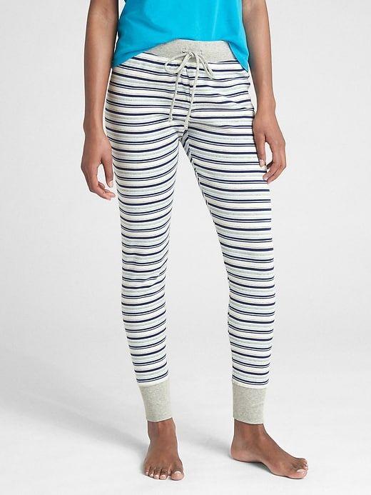 cebbb3157dc Gap Womens Stripe Ribbed Drawstring Leggings Gray Stripe
