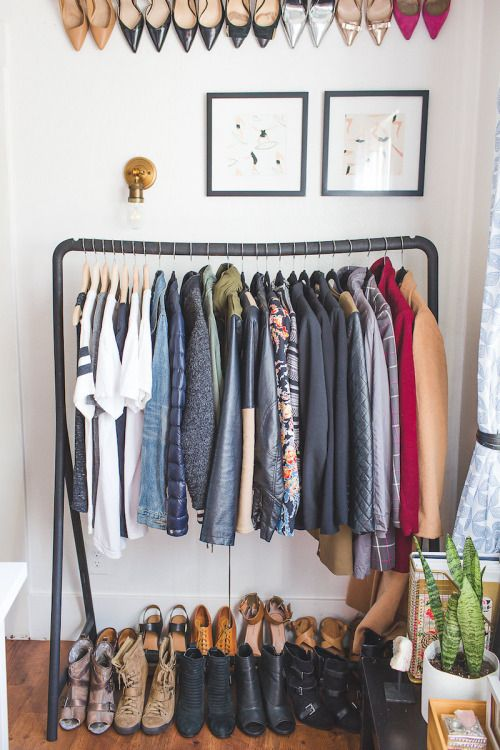 Creative Clothes Storage Without A Closet Office Space Design