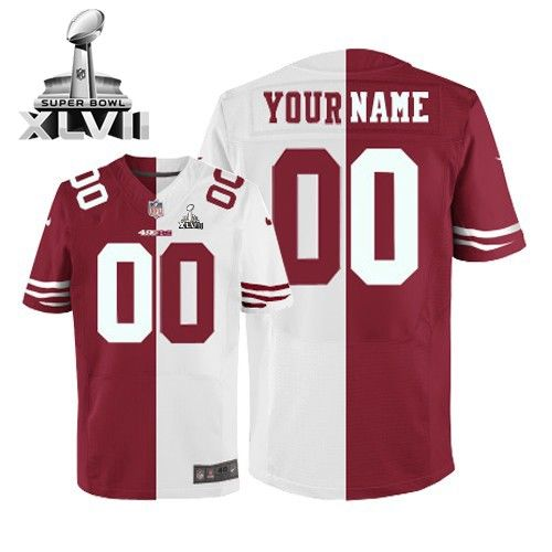 Mens Nike San Francisco 49ers Customized Elite Team Road Two Tone Super  Bowl XLVII NFL Jersey e402e8979