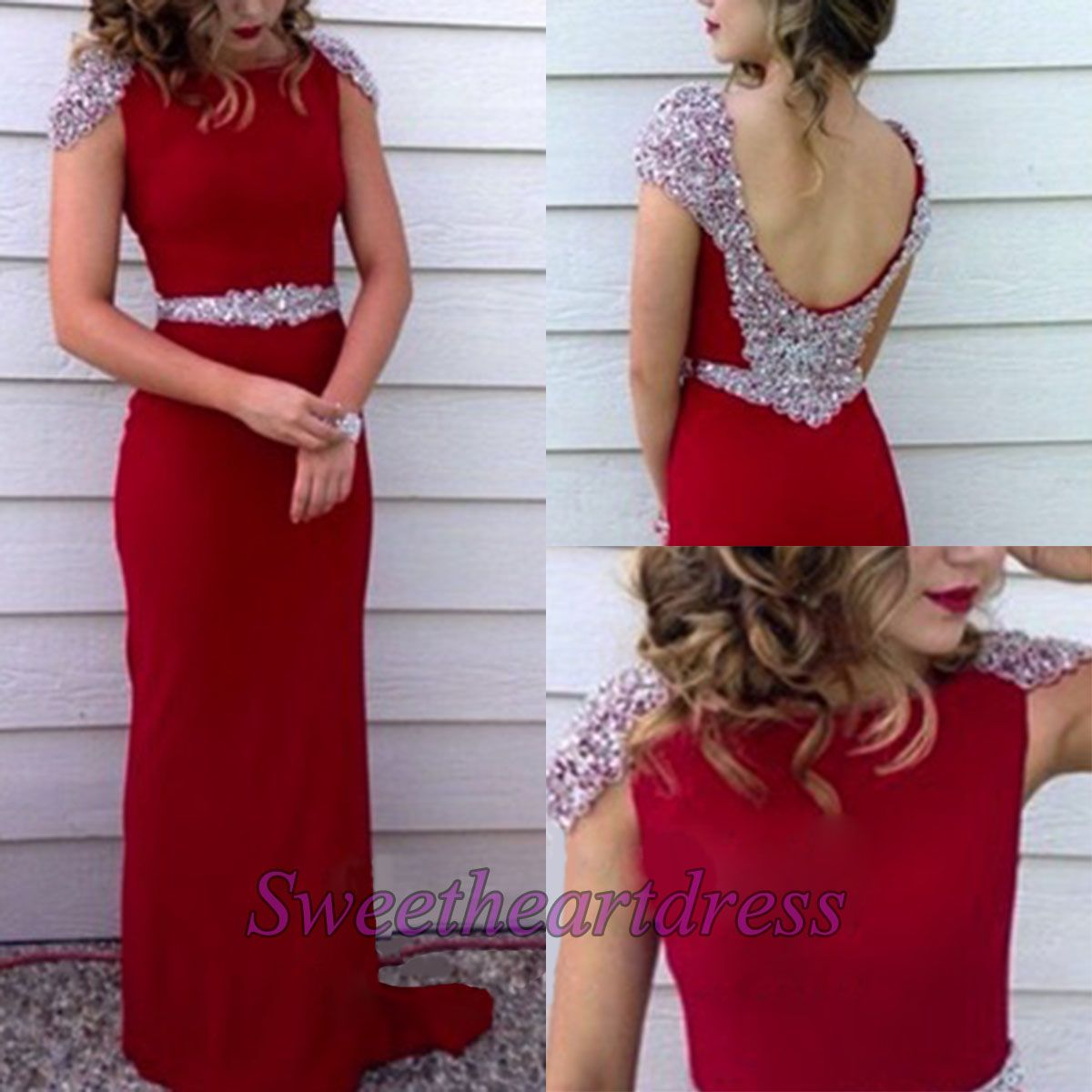 Modest prom dress ball gown unique red chiffon sequins prom dress