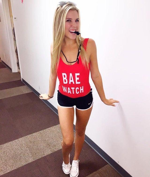 baewatch: whistle, red bodysuit, short shorts, white vans | themed ...