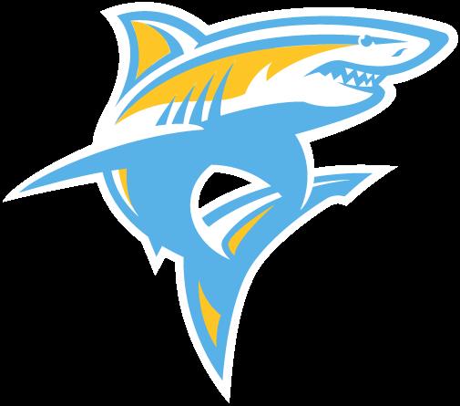 Liu Sharks Alternate Logo 2019 Pres A Powder Blue And Gold Shark Shark Logo Shark Logos
