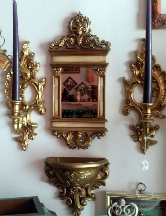 Syroco Wall Mirror Sconce Wall Pocket by JewelsRosesNRust ... on Pocket Wall Sconce For Flowers id=82002