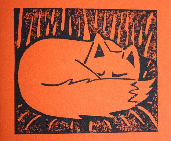 foxy hand printed linocut card prints pinterest. Black Bedroom Furniture Sets. Home Design Ideas