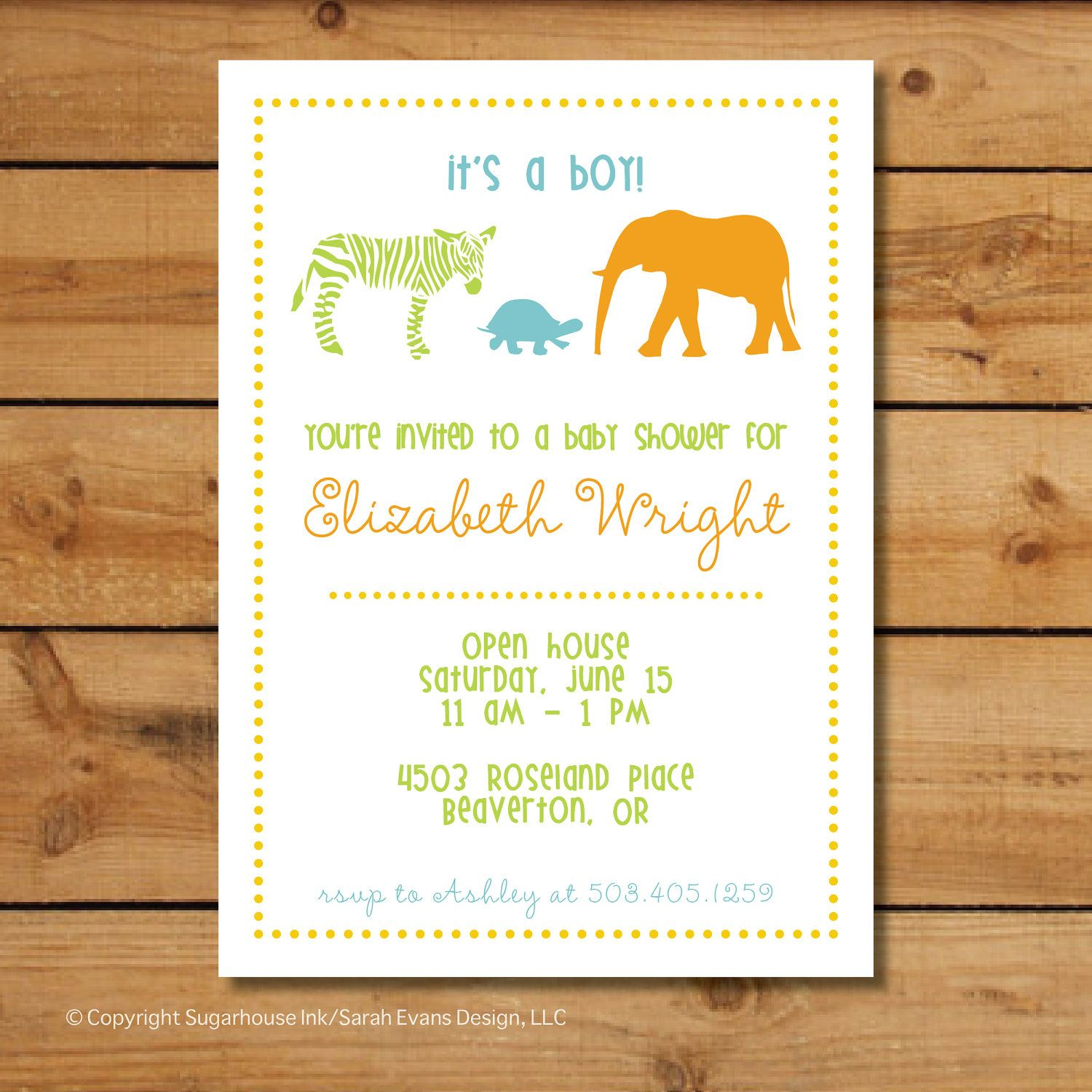 Baby Shower Jungle Invitations - Baby Animals (Boy) | jungle baby ...