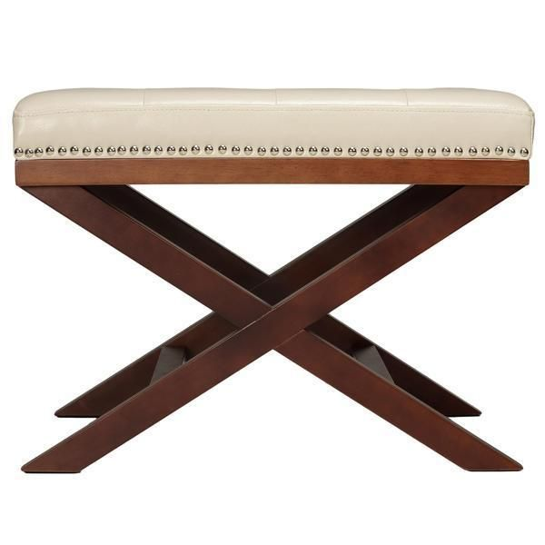 Ivory X Leg Ottoman Bench Furniture Foot Stool Rest Seat Faux Leather Upholstery Ottoman Bench Faux Leather Ottoman Ottoman