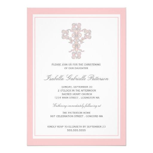 Elegant Pink Cross Girls Christening Invitation baptism - invitation templates holy communion