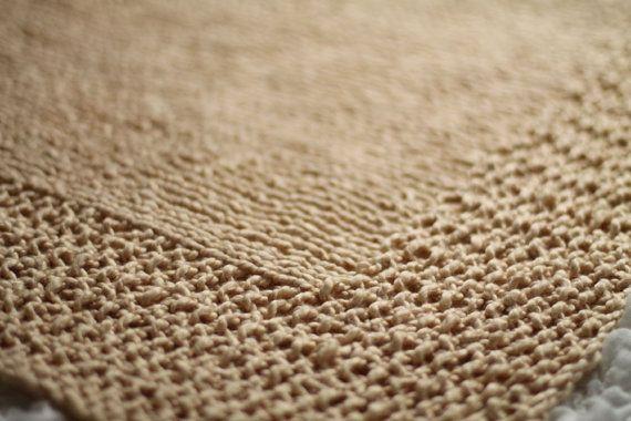 Beige Hand Knit Organic Cotton Blanket