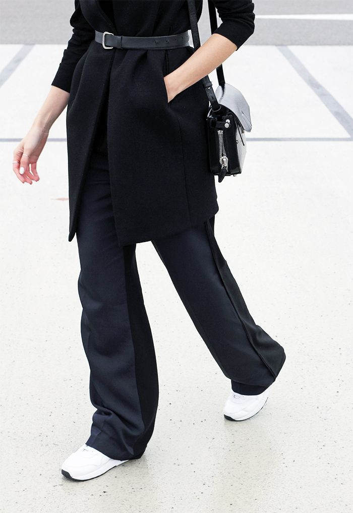 Outfit: waistcoat | belt | all white nike air max | alexander wang bag | avelon palazzo trousers