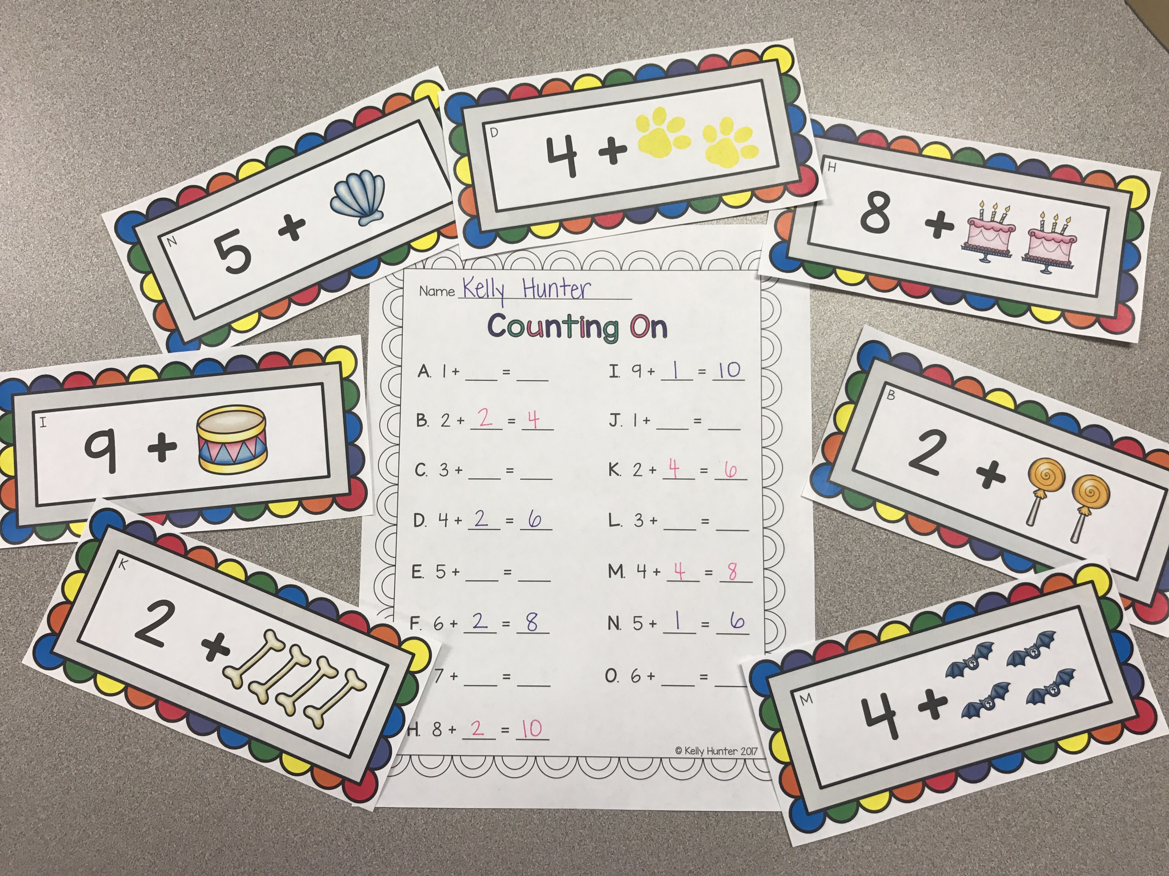 Addition Counting On Worksheets And Task Cards