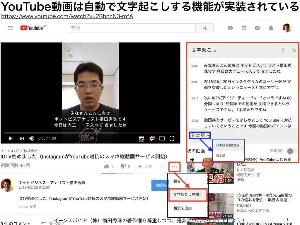 Youtube自動文字起こし字幕 編集機能 検索対象 Podcast ネットビジネス アナリスト横田秀珠 字幕 検索 文字