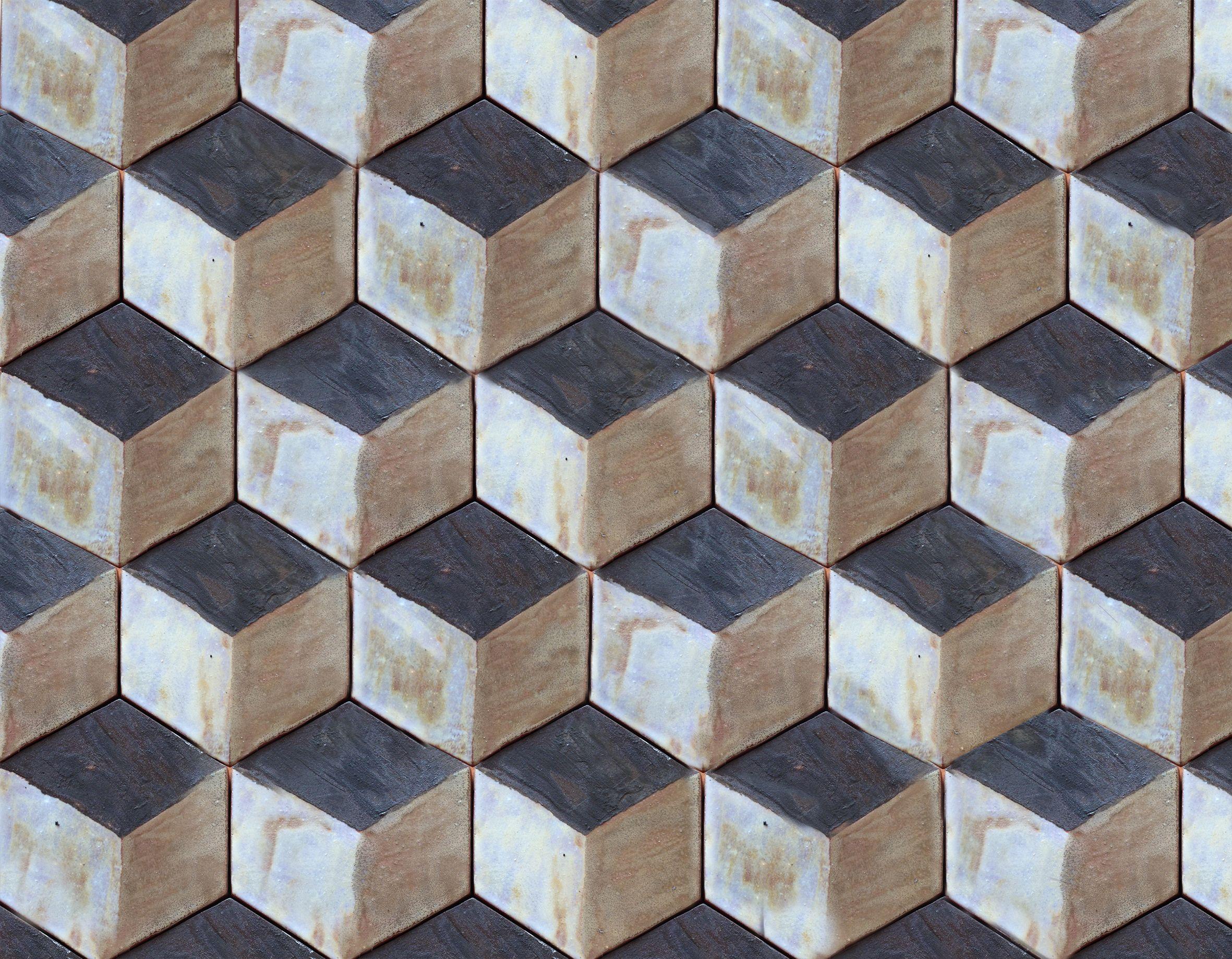 Handmade Hexagon Ceramic Tiles In A 3d Pattern Coloured White Black