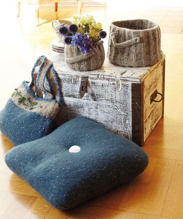 bodenkissen homedec von wash filz it filzwolle von schachenmayr strickfilzen. Black Bedroom Furniture Sets. Home Design Ideas